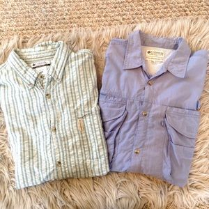 Pair Of Columbia Long Short Sleeve Button Shorts